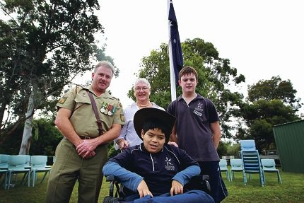 WO1 Joe Ring, Judy Roberston (Rowethorpe Retirement Village), Ronald Ng & Michael Gray at ANZAC service.