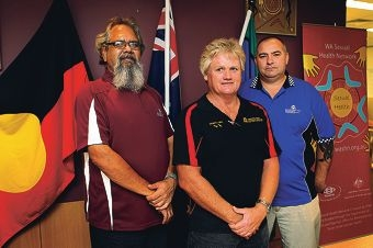 Gerry Faulkner, Roy Smith-Ince and Gerard Lockyer are part of a program that delivers sexual health advice to indigenous men in the community. Picture: Dominique Menegaldo d400360