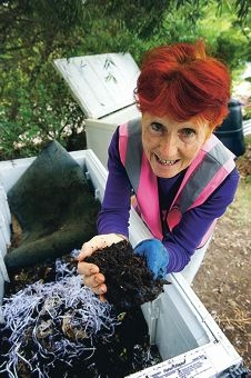 From fridge to farm: Mindarie Regional Council waste education officer Peg Davies shows how an old fridge has been converted into a worm farm. Picture: Emma Reeves d399772