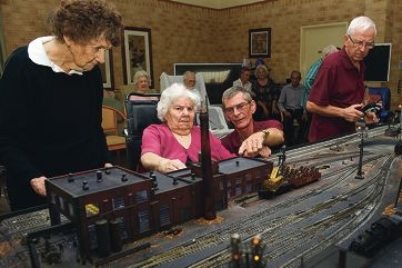 Joan Bonnet and May Higgs with train enthusiasts Malcolm |Taylor and Raoul Chevalier. Picture: Emma Reeves d399169