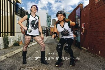 Roller derby competitors Bowie SinSkates and Jewel 2D Death. Picture: Marcus Whisson d399678