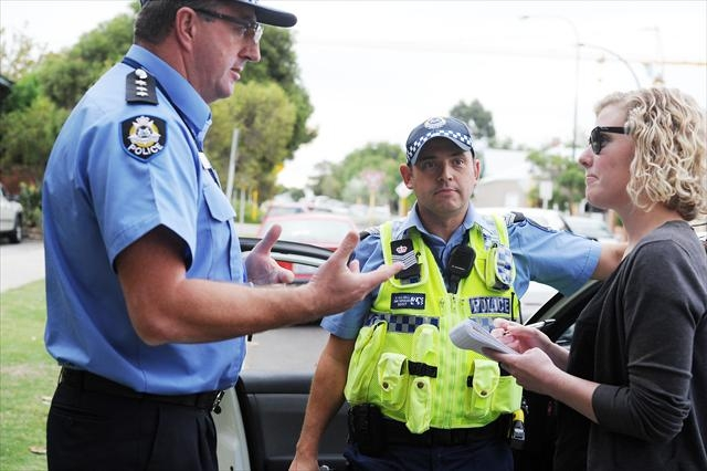 Inspector Noel Gartlan and Senior Sergeant Simon Hazell from Perth Police Station talk to Guardian Express editor Anne Gartner.