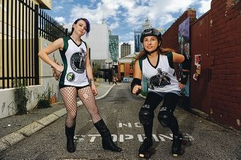 Roller derby competitors Bowie SinSkates (Calista) and Jewel 2D Death (Palmyra). |Picture: Marcus Whisson www.communitypix.com.au d399678