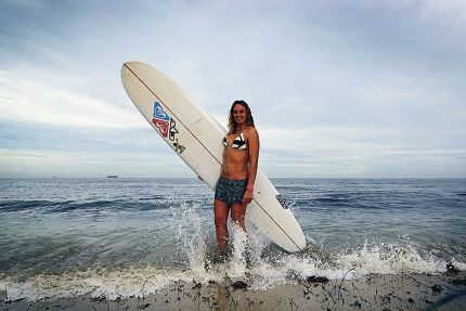 Georgia Young (25) is now number 1 on the Australian women's longboard rankings. Picture: Andrew Ritchie d399176