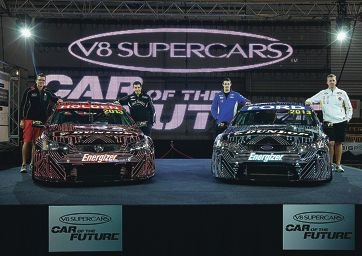 V8 drivers Garth Tander, Rick Kelly, Shane Van Gisbergen and Steven Johnson, when the Car of the Future was first unveiled in December 2011.