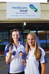 Health nutritionist Rebecca Fleming and dietitian Megan Hardy are on hand to help locals get fit. Picture: Matthew Poon