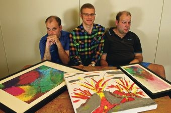 Dan Flynn, Max Schultz and Nick Flynn, all of whom have autism, with their art. Picture: Matthew Poon www.communitypix.com.au d400148