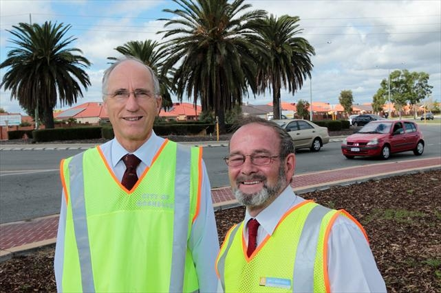 Southern River MLA Peter Abetz and Gosnells Mayor Dave Griffiths at the recently completed roundabout. Picture: Marcelo Palacios www.communitypix.com.au d400245