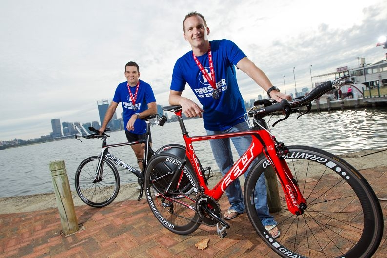 Richard Nevin and Hannes Mucha competed in the Taupo New Zealand Ironman competition.