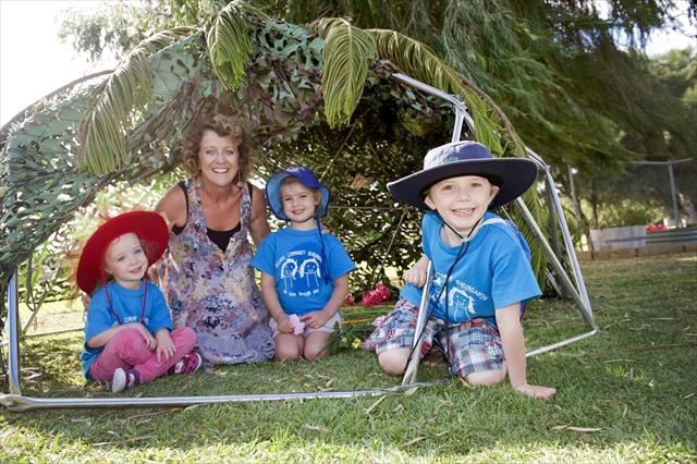 Charlotte Caldwell, teacher Alison Ford, Xanthia Joannides and Alfie Green from Hillarys kindy. Picture: Emma Reeves d400155