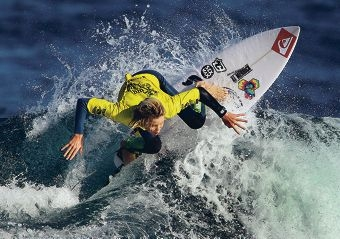 Kael Walsh in action at the King of the Point surf comp.