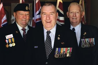 Arthur Stanton (vice president Cockburn RSL), Brian MacDonald (Atwell) and Lawrie Scott (secretary of Cockburn RSL) at the memorial. Picture: Martin Kennealey d400670
