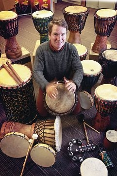Co-ordinator and counsellor Simon Faulkner plays drums.