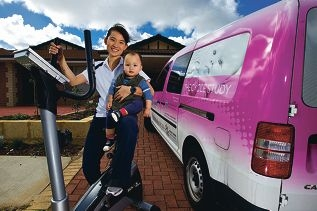 MJ Ong, with her son Metha Skulmanayeunyong, needs volunteers for a cycle study. Picture: Matthew Poon www.communitypix.com.au d400519