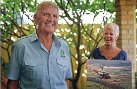 Newly retired chopper pilot Ian Clark and his wife Di, safely home, ironically, in Safety Bay. Picture: Elle Borgward d399961