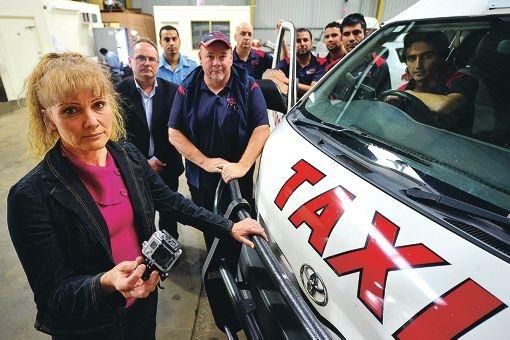 MLA David Templeman and Mandurah cabbies get behind Karen Ferguson's plea for local taxi cameras. Picture: Jon Hewson d400948