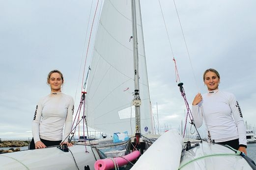 Ella Clark and Carrie Smith have an intense sailing workload but love the challenge. Picture: Martin Kennealey d400638