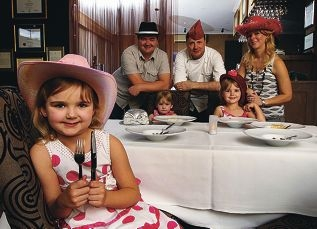 Teneille McBain (front) with her sisters Mahlee (3), Kacey (5) mum Sherrie, dad Neil and restaurant owner Stephen Clarke. Picture: Dominique Menegaldo d401113