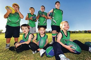 Hammond Park Junior Football Club all abilities team members Barack Pratt, Ethan Evans, Josh Mischefski, Ayden Falzon, Baylee Pes, Jacob Mackenzie and Rosco House. Picture: Marcus Whisson d400945