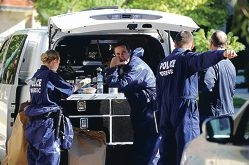 Forensic police officers at the scene of the|suspected murder in South Perth. d401157