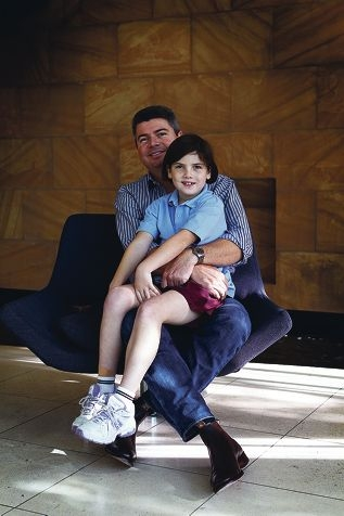Nick Allingame and his daughter Geogia Allingame (8) who has cystic fibrosis. Picture: Andrew Ritchie www.communitypix.com.au d400713