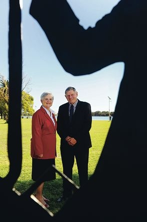 City of South Perth Mayor Sue Doherty and Town of Victoria Park Mayor Trevor Vaughan [NAMES OK]