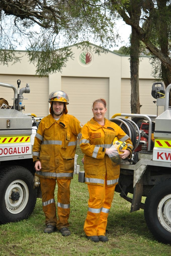 Volunteer firefighters Craig Treeby and Anna Fryer.