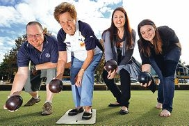 Claremont Bowling Club member Hazel Warr (front) with social players Matthew Swindale, Bernese Whitcomb and Katrina Christidis. d401204
