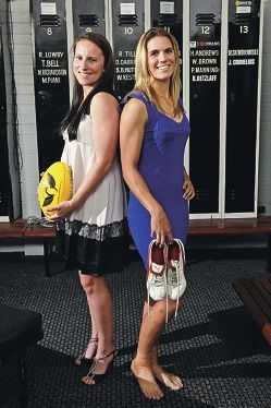 Kara Donnellan and Chelsea Randall are off to the Melbourne Football Club. Picture: Bruce Hunt www.communitypix.com.au d400240