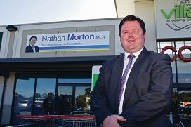 At your service: Nathan Morton in front of his new office. Picture: Matthew Poon www.communitypix.com.au d401406