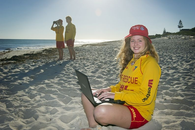 Surf lifesavers Cassie Choake (foreground), Josh Gethin and Jack Mourant monitor conditions at Claytons beach. Picture: Emma Reeves d401669
