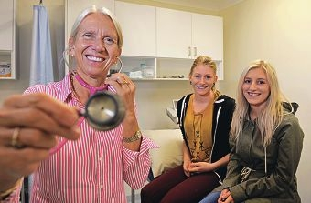 Dr Nichola Wood, Ashley Grigsby, of Cooloongup, and Jami Burke, of Port Kennedy. Picture: Elle Borgward d400666