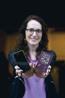 Sophie Farrar demonstrates the app.