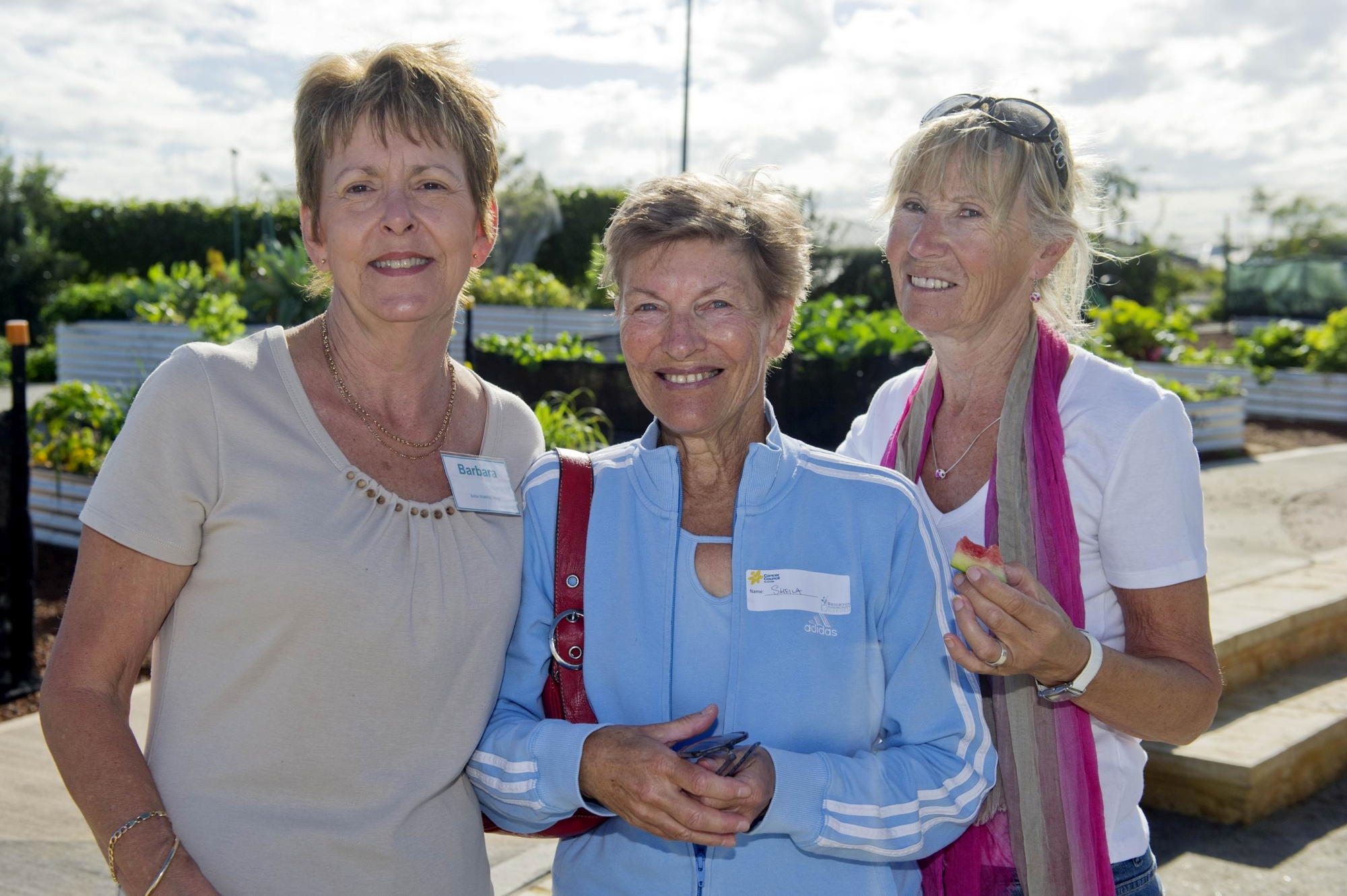 Barbara Hamilton, Sheila Diamond, Arlene Williams at Brighton Community Garden's Biggest Morning Tea.