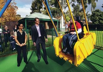 Rie Moustakas, from Gloria Jean's, Variety WA CEO Michael Pailthorpe and John Sturzaker on the new Liberty Swing. Picture: Dominique Menegaldo www.communitypix.com.au d401777