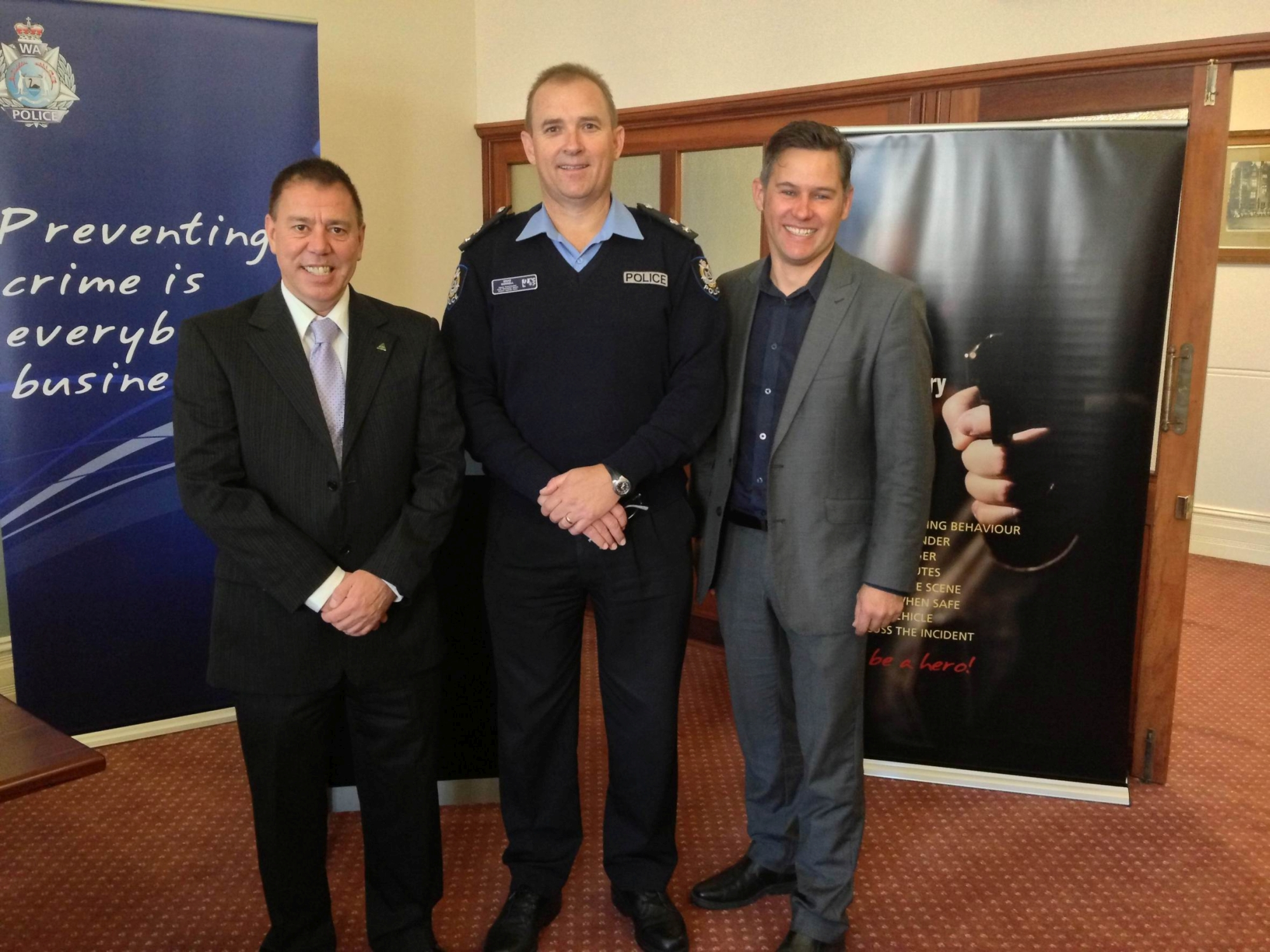 Tim Milsom, Brad Sorrell and Fremantle mayor Brad Pettitt at the launch of the new Business Beat initiative last week.