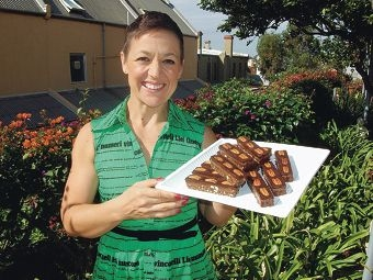 Laila Gampfer with her famous treats.