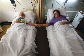 Arthur & Beverley McCusker, husband and wife sharing a room to recover after both undergoing the same back surgery on the very same day.