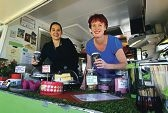 Kirsty Fagan and Giorgia Johnson inside their Cool Breeze Cafe van. d401999