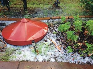 Beresford Place resident Heather McWilliam took photos of hail last week.