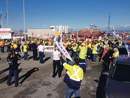 Shipbuilders vote outside BAE Systems in Henderson in favour of a national campaign to support local jobs.