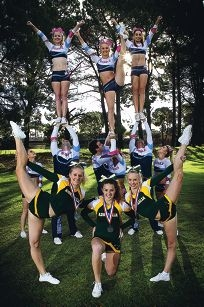Australian squad members Tarryn Isard, Lauren O'Brien and Kiara Isard joined by some of their Starmite Starz team mates.Picture: Dominique Menegaldo d402036