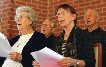 Edna Long (third from left) with fellow choir members Dossie Gilbride, of Melville,Terry Potter, of Rossmoyne, and Les Smith, of Bicton.Picture: Martin Kennealey d402014
