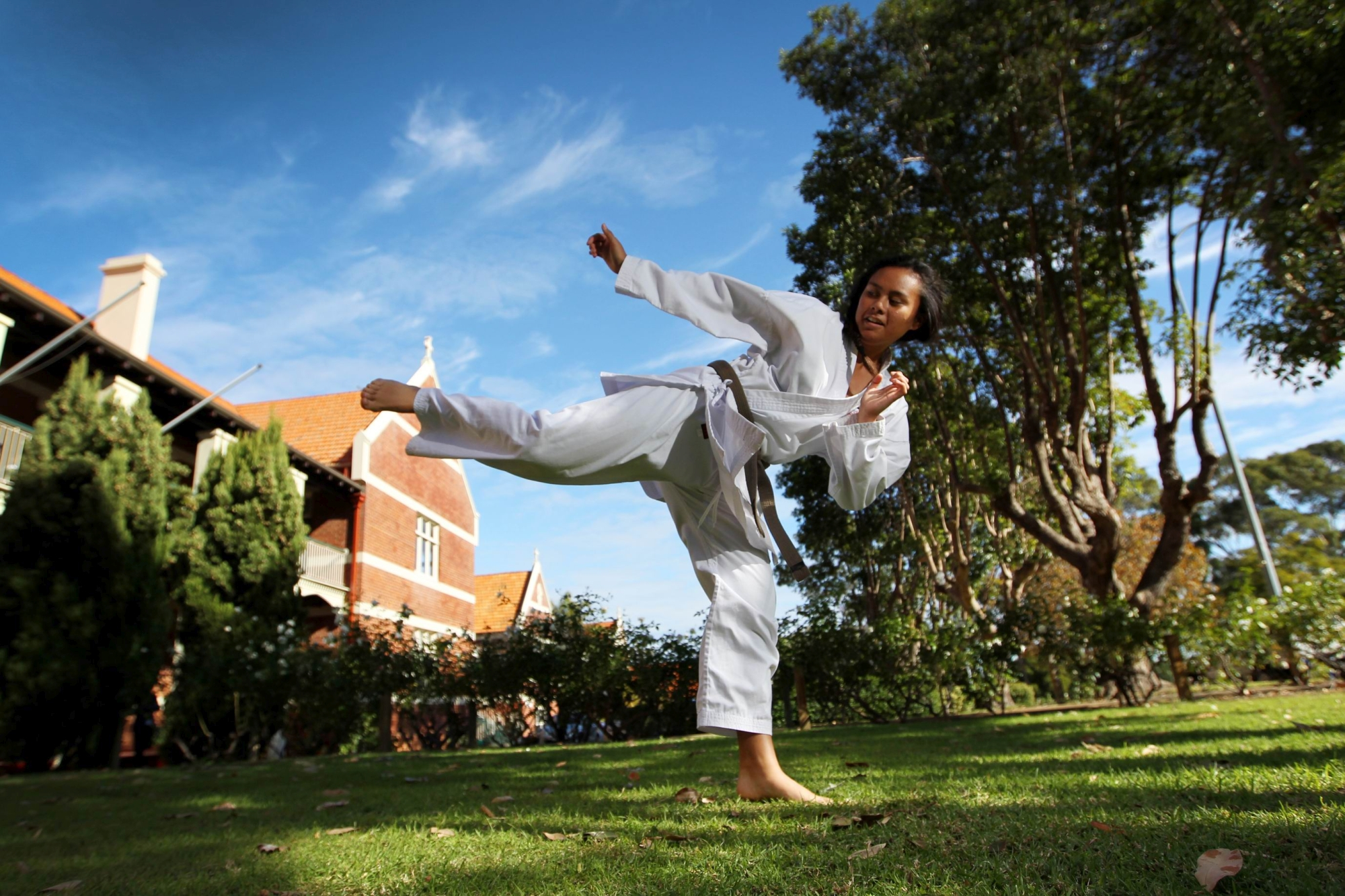 Rising karate star Caitlin Miller shows her style. Picture: Andrew Ritchie www.communitypix.com.au d402033