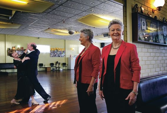 Dancers David and Betty Gallaher with Daele Fraser inside her dance studio in Morley. Picture: Dominique Menegaldo d401629