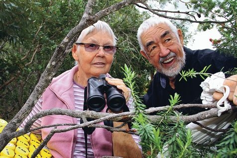 Birdwatchers Alma and Perry de Rebeira at work. Picture: Robin Kornet www.communitypix.com.au d402302