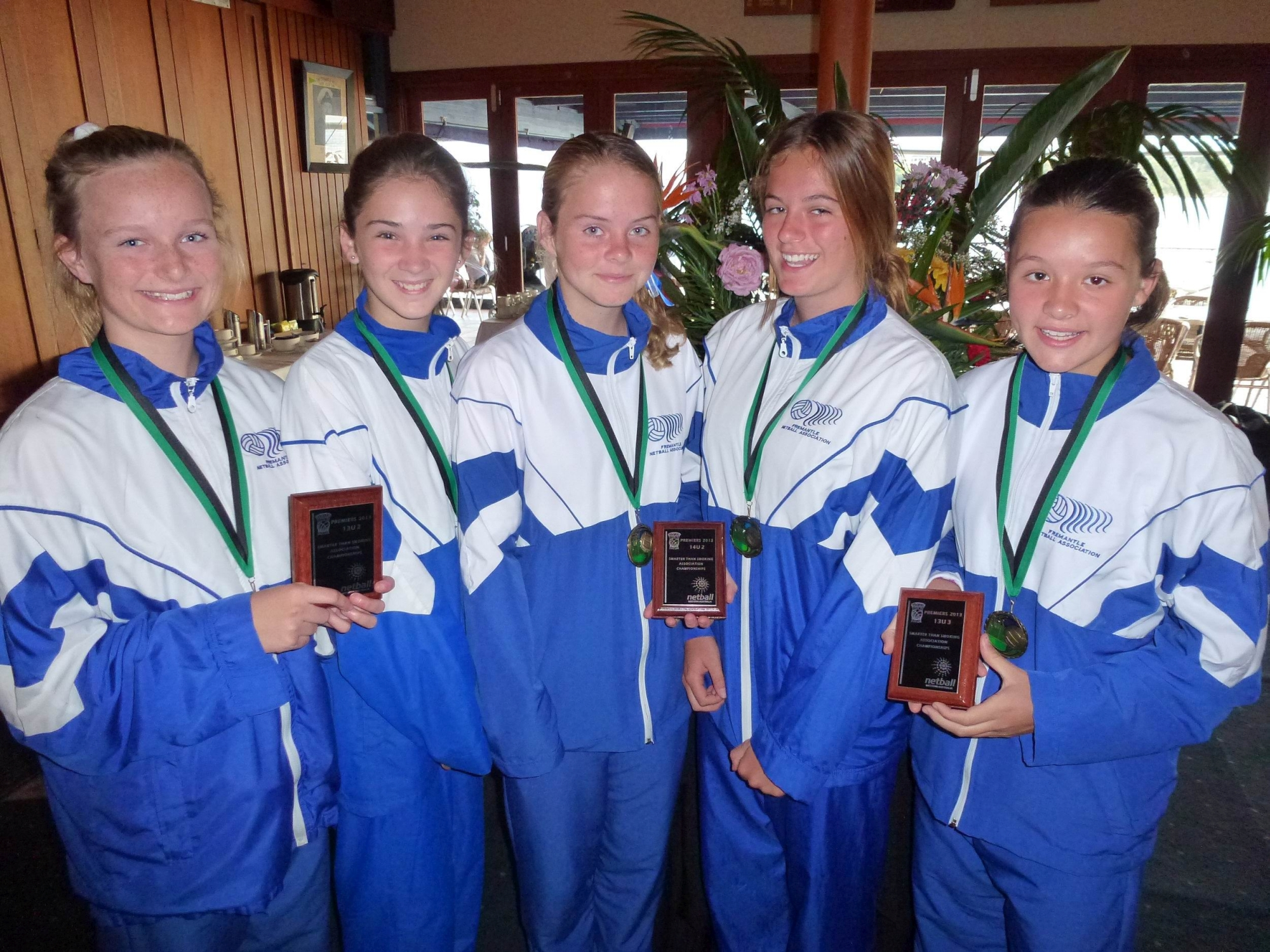 Winning team captains, from left, Ruby McLernon, Jess Brown, Teegan Burns, Gian Coppard and Ella Hartley.