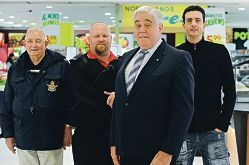 Neighbourhood Watch Balcatta member Ken Meldrum, Northlands Shopping Centre security guard Shane Davidson, Neighbourhood Watch Stirling district co-ordinator Les Gray and Stiletto's Multi-Service owner Shane Faux. Picture: Marcus Whisson www.communitypix.com.au d402837