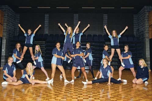 Members of Butler College's cheerleading squad rehearse one of their routines. Picture: Emma Reeves www.communitypix.com.au d402375