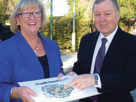 Disability Services Minister Helen Morton with DSC director-general Ron Chalmers.